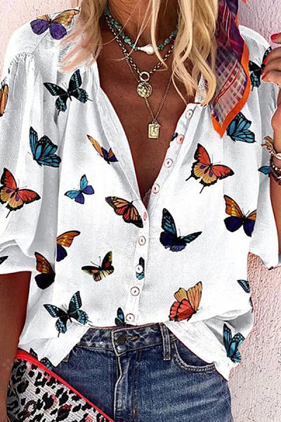Casual Butterfly Print Shirt