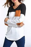 V Neck  Asymmetric Hem Patch Pocket  Color Block T-Shirts