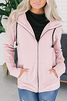 Hooded  Zipper  Plain Jackets
