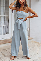 Strapless Solid Waist Small Design Jumpsuit