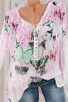 Casual V-Neck Button Butterfly Print Long-Sleeved Shirt
