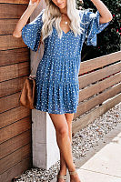 V Neck  Ruched  Polka Dot Casual Dresses