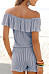 Off Shoulder  Backless  Striped  Short Sleeve  Playsuits