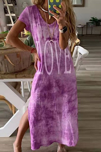 V Neck Short Sleeve Printed Maxi Dress
