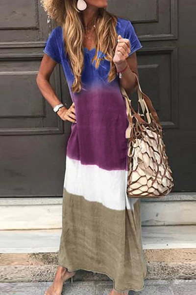 Casual V Neck Printed Colour Loose Maxi Dress