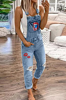Lip Printed Washed Denim Overalls