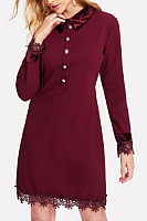 Turn Down Collar  Single Breasted  Plain  Long Sleeve Casual Dresses