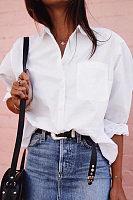Casual Fashion Slim Plain White Blouses