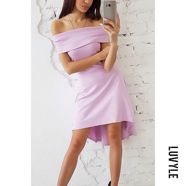 Purple Off Shoulder Asymmetric Hem Plain Short Sleeve Casual Dresses Purple Off Shoulder Asymmetric Hem Plain Short Sleeve Casual Dresses