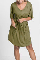 Casual Round Neck Mid Sleeve Solid Color Mini Dress