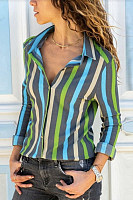 Small Lapel Striped Long Sleeve Casual Blouses