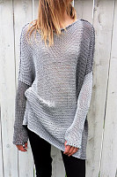 V Neck  Patchwork  Basic Sweaters