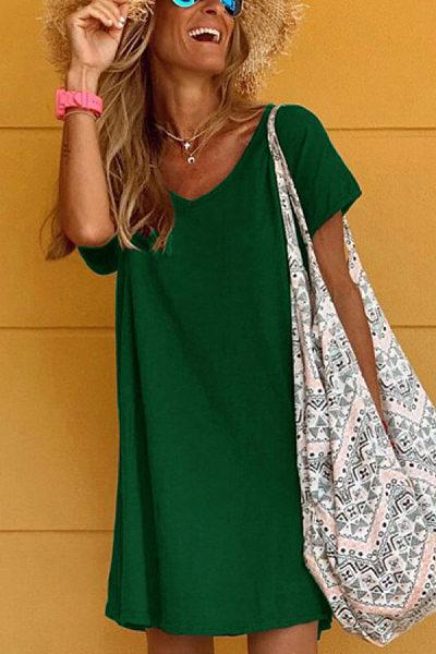 V Neck Short Sleeve Solid Casual Dress