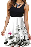 Elegant Round Neck Sleeveless Printed Colour Dress