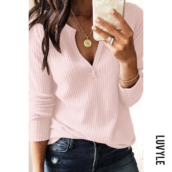Pink V-Neck Long Sleeve Plian T-Shirt Pink V-Neck Long Sleeve Plian T-Shirt