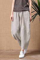 Women's cotton and linen nine points loose elastic waist wide leg pants casual pants