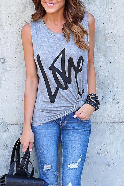 Round Neck  Letters Sleeveless T-Shirts