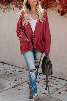 Casual Pure Color V Neck Knitting Cardigans