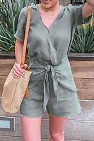 V Neck Short Sleeve Playsuits