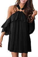 Open Shoulder  Backless Flounce  Plain  Bell Sleeve  Short Sleeve Casual Dresses