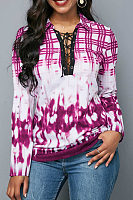 Deep V Neck  Lace Up  Tie Dye  Blouses