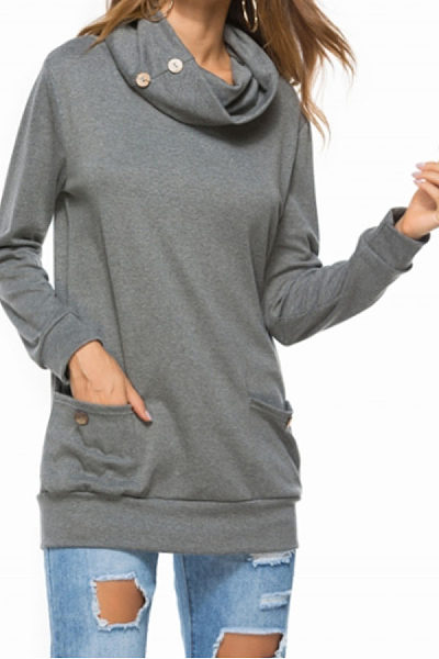 Cowl Neck  Decorative Buttons  Plain Sweatshirts