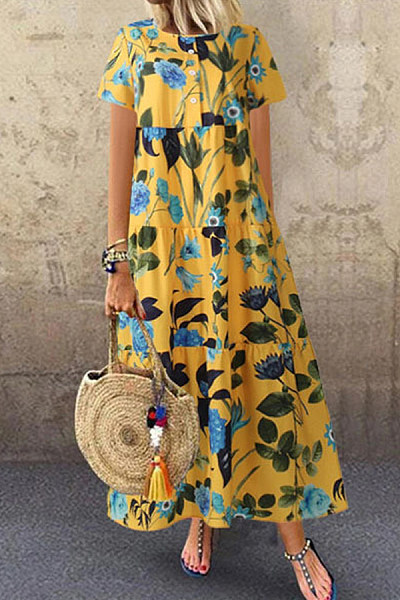 Casual Loose Short Sleeve Printed Dress