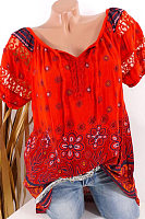 Round  Neck  Patchwork  Elegant  Printed  Short Sleeve  Blouses