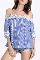 Strapless  Patchwork  Vertical Striped Shirts