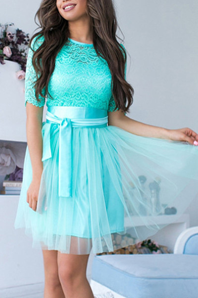 Crew Neck  Decorative Lace  Plain  Short Sleeve Skater Dresses