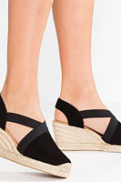 Velvet Peep Toe Date Wedge Sandals