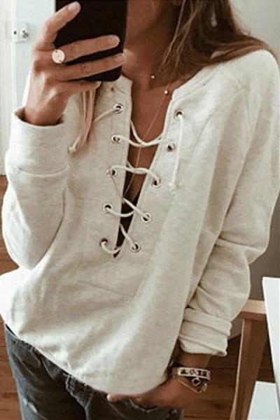 Solid Color Long Sleeve Casual Sweatshirt