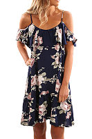 Spaghetti Strap  Flounce Ruffled Hem  Floral Printed Casual Dresses