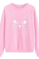 Women's Cat Print Round Neck Sweater