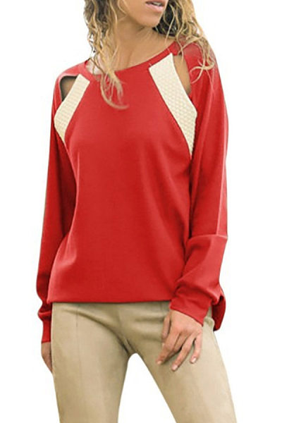 Fashion Casual Round Neck Long Sleeves Hollow Out T-Shirt