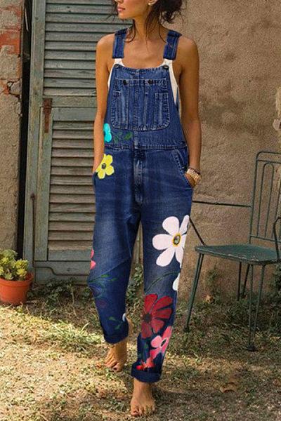 Women Casual Floral Denim Bib Pants