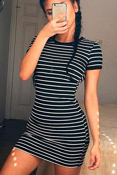 Crew Neck  Striped  Short Sleeve Bodycon Dresses