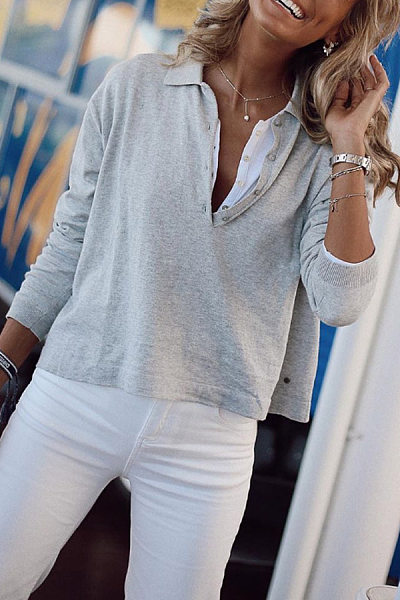 A Lapel Long Sleeve Plain T-Shirt