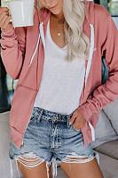 Casual Solid Color Horn Long Sleeve Drawstring Pocket Sweatshirt