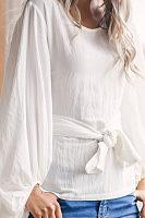 Round Neck  Lace Up  Plain  Lantern Sleeve Blouses