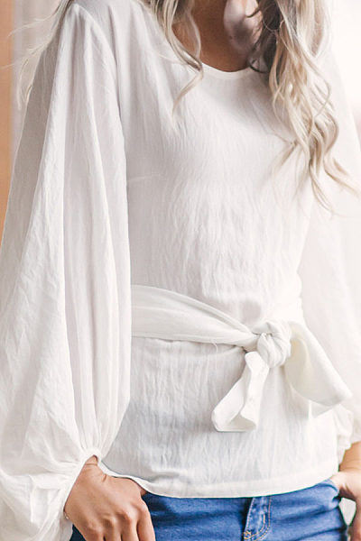 Round Neck  Lace Up  Plain  Lantern Sleeve Blouses