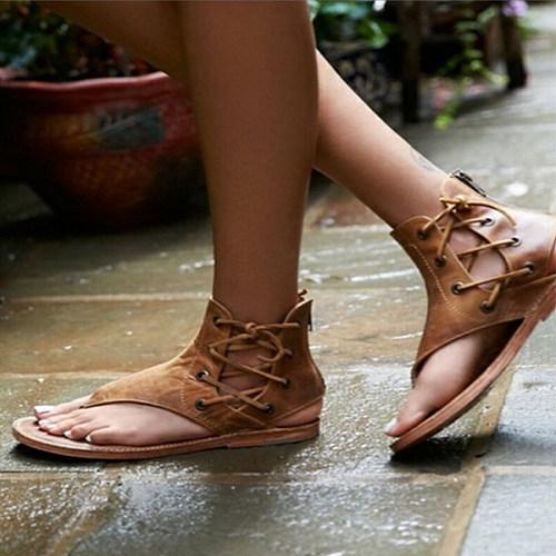 Plain  Flat  Criss Cross  Peep Toe  Casual Sandals