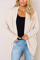Collarless Long Sleeve Plain Outerwear