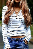 V Neck  Lace Up  Striped T-Shirts