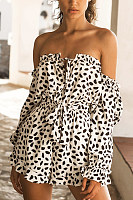 Off Shoulder  Dot  Long Sleeve  Playsuits