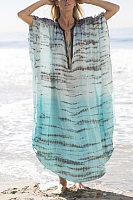 Tie Collar  Loose Fitting  Abstract Print  Maxi Dresses