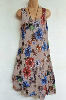 Casual V Neck Floral Sleeveless Dress