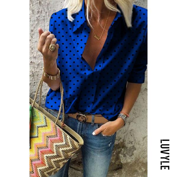 Collar   Blouse   Women   Shirt   Print   Dot