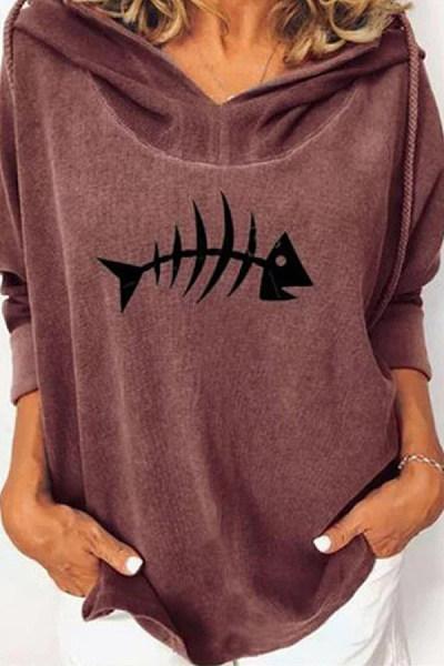 Fish Long Sleeve Loose Hoody
