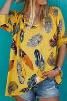 Fashion V Neck Long Sleeve Printed Blouse